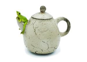 カエルオブジェ 急須蛙 注ぎ口座り