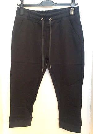 Double-Face Jersey Cropped Truck Pants Black