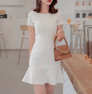 simple frill dress 2color