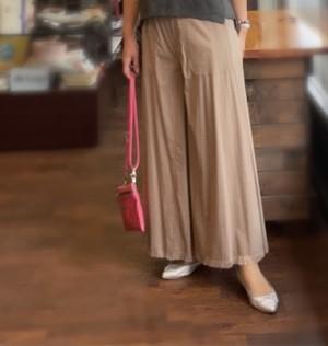 裾フリンジのワイドパンツ