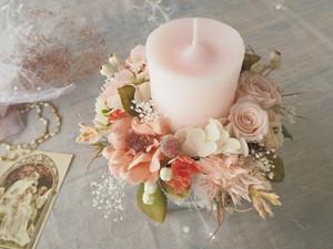 Antique Rose saumon*キャンドルアレンジメント*キャンドル*ボタニカル*プリザーブドフラワー *花*ギフト*結婚祝い*春のお祝い