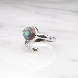 SINGLE STONE OPEN RING SILVER 012