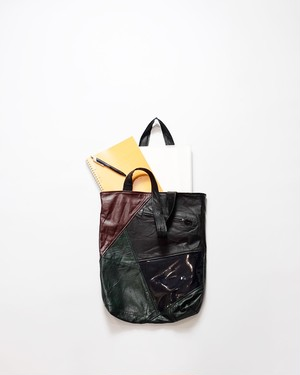 leather tote bag(red×green)
