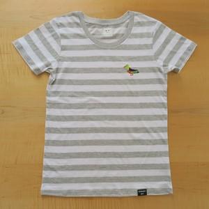 NEW! 2017レディースボーダー刺繍Tシャツ GRAY とり