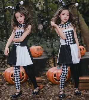 3543ハロウィン コスプレ衣装 コスチューム 仮装 キッズ 女の子 子供 衣装 ピエロ衣装