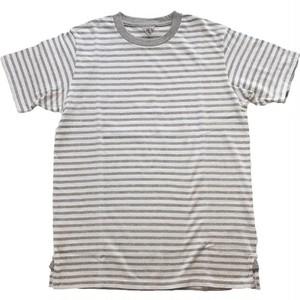 FilMelange フィルメランジェ OLIVER オリバー オーガニックコットン ボーダー天竺 半袖Tシャツ -OZON WHITE/LT  GRAY-