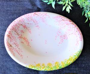 陶器トレイ「しだれ桜、満開の」