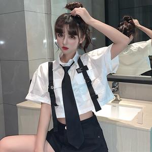 【トップス】ファッション半袖シングルブレストPOLOネックショート丈ネクタイ付きシャツ31171561
