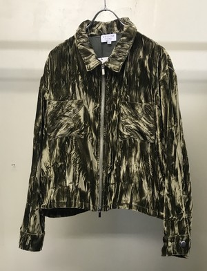COLLINA STRADA CRUSHED VELVET MECHANIC JACKET OLIEVE