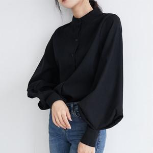 【トップス】エレガント切り替えランタンスリーブ無地シングルブレストシャツ34812151