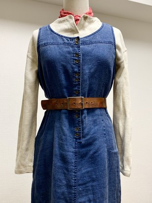 Vintage Indigo Linen Sleevless Dress