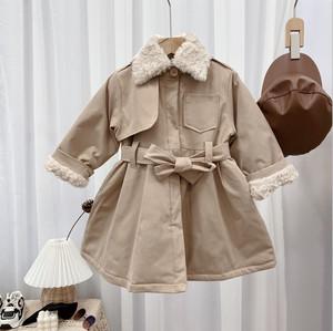 1502子供服 キッズ コート ジュニア 女の子 ジャケット 冬 防寒 アウター 厚手 トレンチコート キルティング ファー 100cm-140cm
