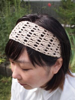 透かし編みのシンプルヘアバンド【ベージュ】
