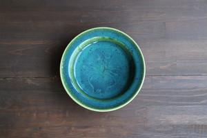 瀬戸本業窯 緑釉かぶ文皿6寸