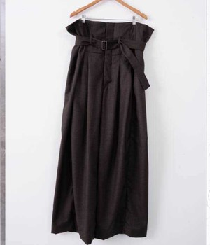 HED MAYNER - WIDE PLEATED PANT - SS21_P504_BRW/ WO WO - BROWN COOL WOOL
