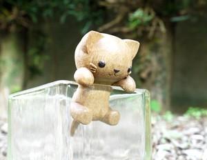 【木彫りの置物】木っかけ猫ちゃん②
