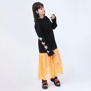 【FLOWER by RADIO EVA 020】EVA Big Monogram Neon Long T-Shirt BLACK /  EVANGELION エヴァンゲリオン