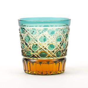 酒グラス(琥珀緑)江戸切子の販売店 送料無料 無料包装 結婚祝 記念品 古希祝 退職祝 プレゼント