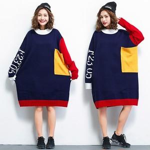 大きいサイズ レディース ゆったりニットワンピース セーター カラフル 長袖 秋冬 【S8843467】