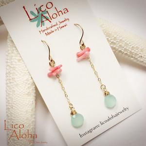 KLAE3 LICO ALOHA リコアロハ、ハワイアンジュエリー、ピアス、アクアカルセドニー、ピンク珊瑚、14KGF