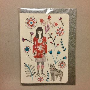 Girl and Husky Card