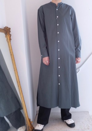 [Phlannel] stand color shirt dress