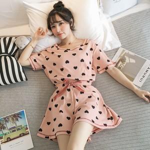 【パジャマ】カジュアル半袖Tシャツ+ショートパンツ2点セットパジャマ21093053