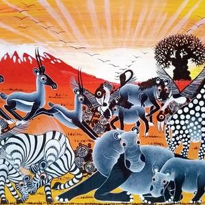 『 Kilimanjaro Animals panorama 』 Wide-Tingatinga by Mteko  70*25cm