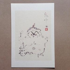 ポストカード【鬼ふくろう】モモMサトウpc018