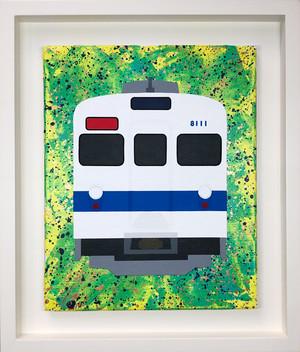東武鉄道8000系  オリジナル原画 キャンバスにアクリル絵具