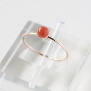 染赤珊瑚のひとつぶ華奢リング~4mm玉・14KGF