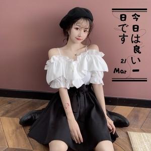 【セットアップ】ファッションフリルボートネックシャツ+ハイウエストスカート