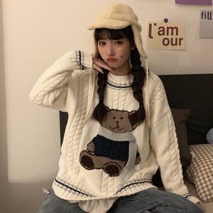 【トップス】学園風キュート動物柄プルオーバーセーター