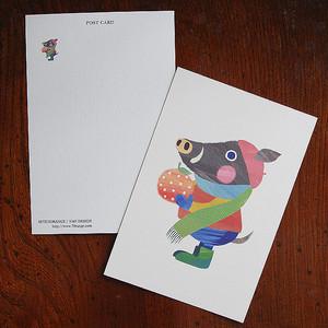 セブンオレンジ オリジナルポストカード 《いのししとオレンジ》