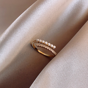 open pearl ring gold r005