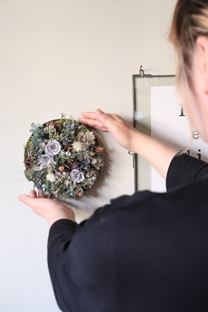 Preserved flower plate arrange L-[USUHANA]送料込