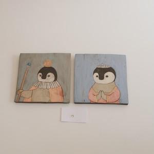 つぐみ製陶所 陶板画 エンペラーペンギン 2枚組