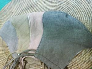 特別販売!オーガニック草木染め手織り布マスク2枚組み 茶&マスタード