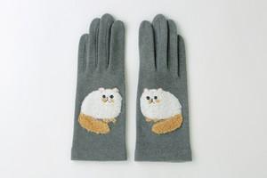 ふわふわ刺繍手袋ペルシャ グレー