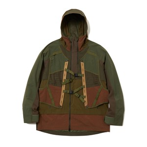 LAYERED HOODED JACKET -KHAKI