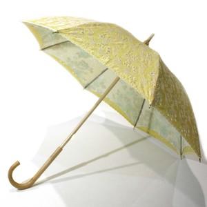 二重張り birdレース日傘 exレモンホワイト×グリーンフラワー 43㎝