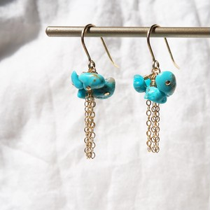 Turquoise flower pierced earring