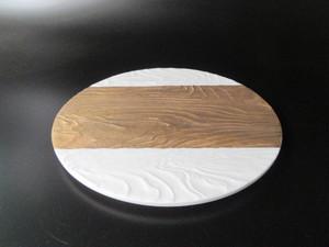 金帯浮彫23cm丸プレート皿