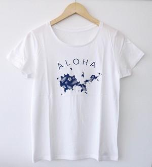 オオシマアロハTシャツ/ホワイト×ブルー