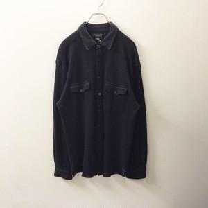 ISLAND SOFT メリノウール シャツ チャコールグレー size L メンズ 古着