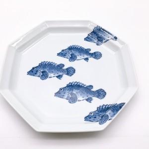 魚紋 八角尺皿