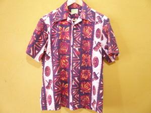 ハワイ製ビンテージUiMaikai帯柄アロハシャツ/50s60sOLDストライプ