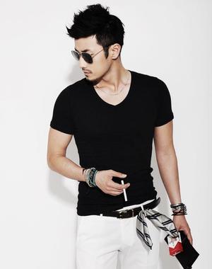 サイズL メンズ  Vネック Tシャツ ブラック