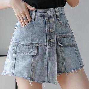 【ボトムス】ファッションボタンハイウエスト無地Aラインスカート26956156