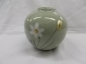花瓶 新古品 わさび染 淡路陶園 水仙 手描き 元箱入り 未使用